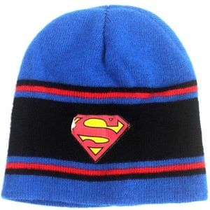 Superman Logo Beanie Skullcap Winter hat Soft Blue